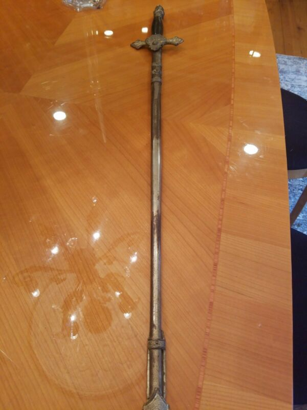 Knights of Columbus Fraternal Ceremonial Sword with Scabbard Etched