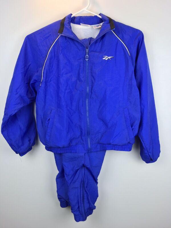 90s VTG REEBOK Women's Medium Zip Track Suit Jacket Pants Warm Up Retro Blue