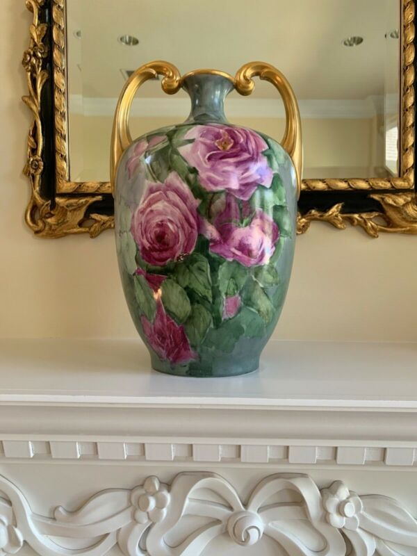 Antique LIMOGE Muscle Vase- Hand Painted circa 1891