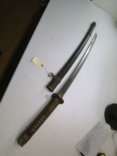 WW2 JAPANESE OFFICERS SWORD WITH SCABBARD OLD KOTO BIZEN KATANA BLADE
