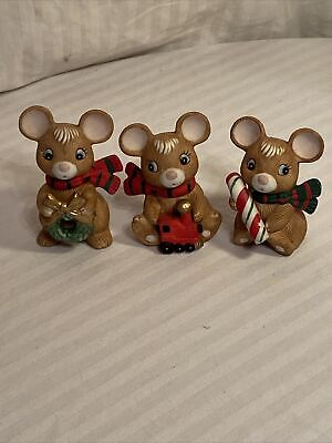 Vintage Christmas Homco Mice Set of 3 Candy Cane Wreath and Train #5210