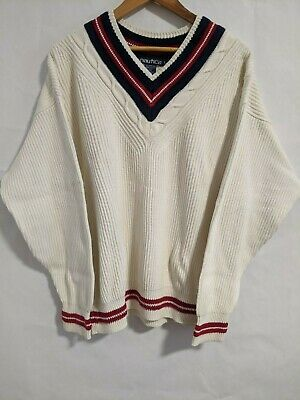 Vintage Nautica V Neck Pullover Knit Sweater White w/ Red Blue Trim Mens Large