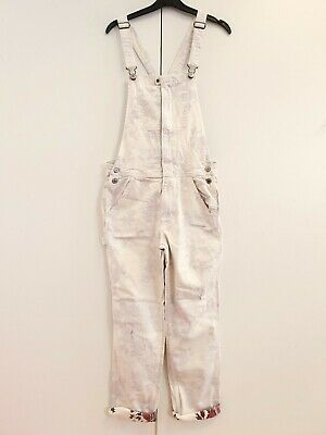 WOMENS AMERICAN OUTFITTERS WHITE FLORAL DENIM OVERALL DUNGAREES L 12-14 W32 L26