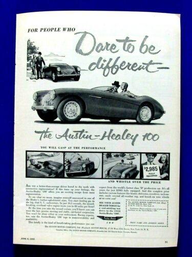 "Austin Healey 100 1955 Dare To Be Different Original Print Ad 8.5 x 11"""
