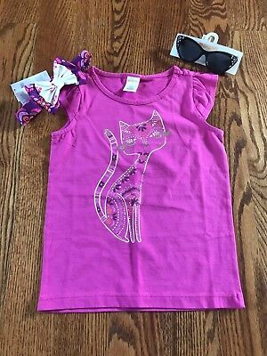 Gymboree Girls Dazzled Kitty Cat Tee w/ Headband & Sunglasses NWT - Kitty Cat Gym