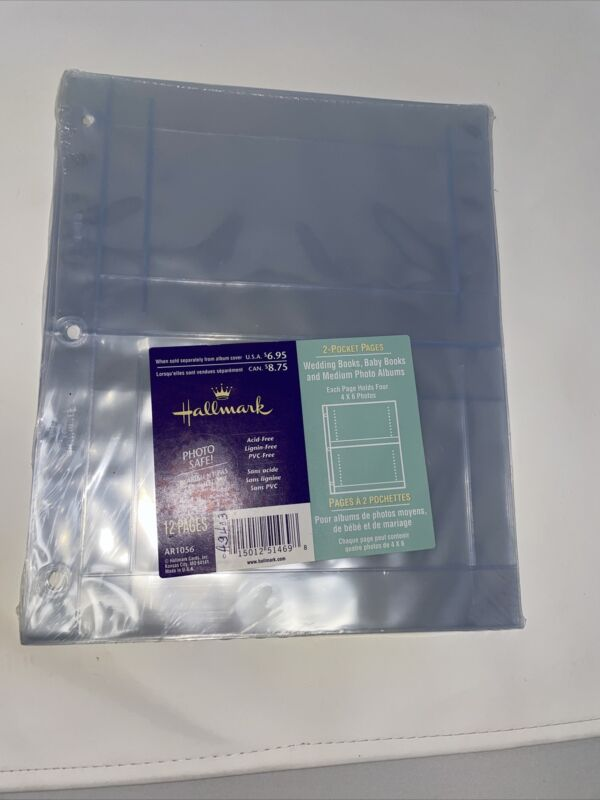 12 Hallmark Photo Album Refill 2 Pocket Pages Holds 4x6 AR1056 New 3 Ring