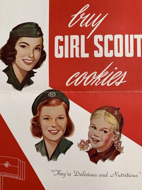 """Circa 1950 - 60's """"Buy GIRL SCOUT & BROWNIE Cookies"""" Poster Vintage - Used"""