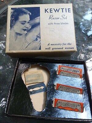 Lot of 4 Vintage Women's Kewtie Razor Blades - '30s - 40's with ORIGINAL box