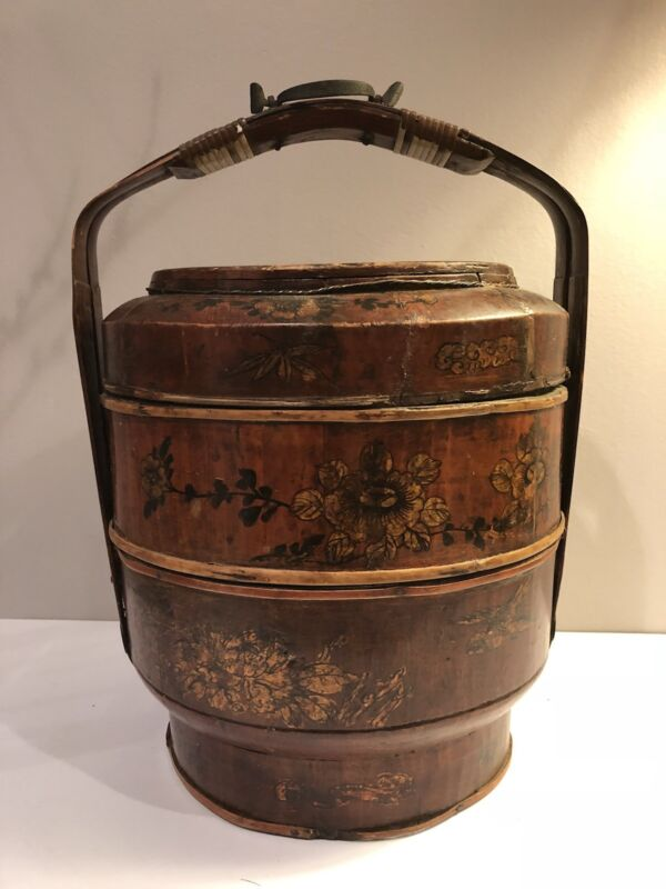 "VINTAGE (c.1920) 3 TIER CHINESE STACKNG WEDDING BASKET, HAND-PAINTED 16"" H"