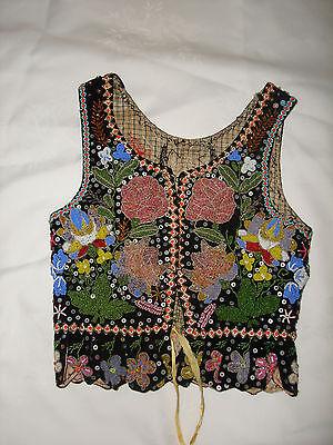 Antique Unique Polish Folk Hand Made Multi Colored Beaded Velvet Costume Vest