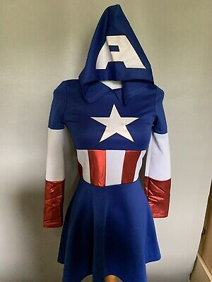 Fine Captin America Girls Dress Size Large Cute](Captin America Costume)
