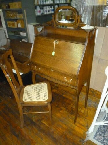 Antique Oak Desk Drop front ornate lady