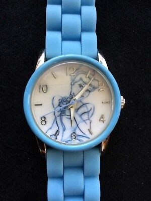 Disney Cinderella Watch Silicone Blue Band Ladies New Battery