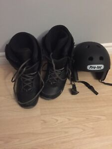 Snowboard boots and helmet