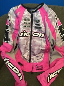 Icon motorcycle jacket pink camouflage