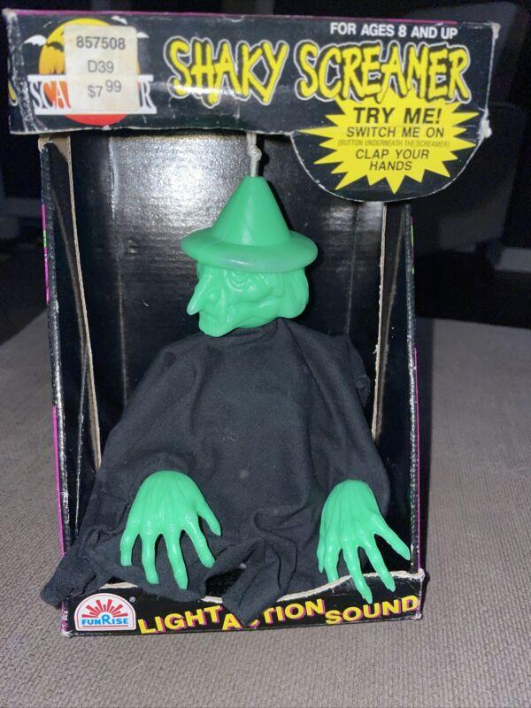 Vintage FunRise Light Up Animated Witch Shakes Makes Sounds Shaky Screamer 1993
