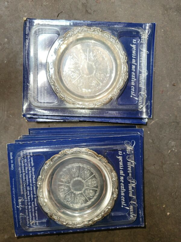Lot of 10 ReadersDigest Silver-plated coasters unused