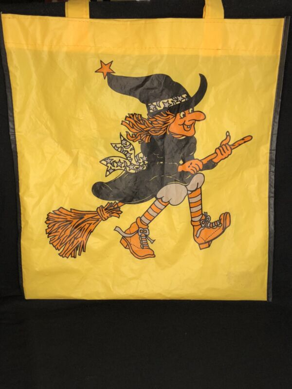 Vintage Vinyl Witch Halloween Trick or Treat Bag w Handles Yellow 2-Sided Art 🎃