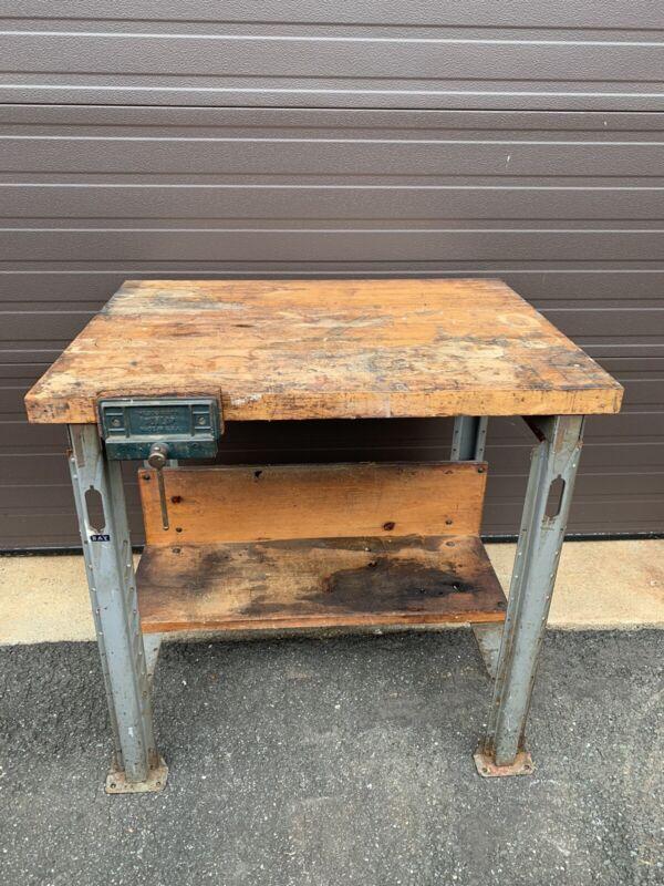Vintage Industrial Work Bench Table Station