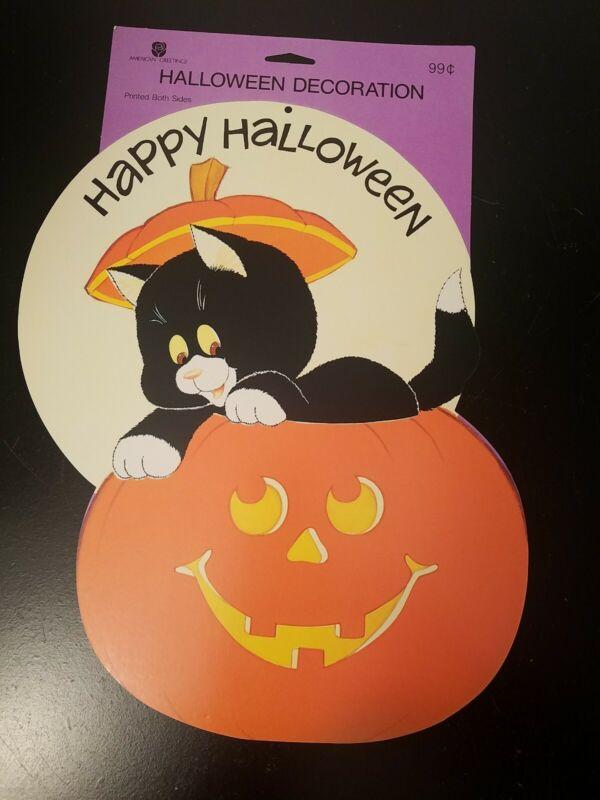 Vintage American Greetings Halloween Die Cut Decoration Pumpkin Cat  NOS