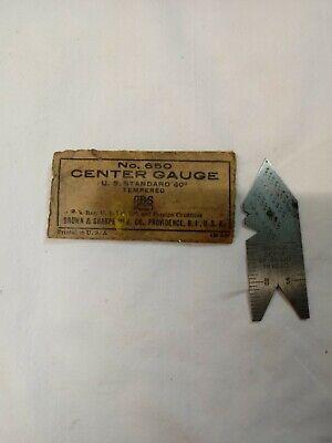 Brown Sharpe No. 650 Center Gauge Machinist Center Gage Old Tool