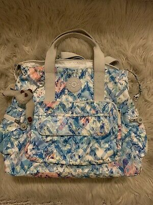Kipling Backpack Size MEDIUM Floral Blue EUC!
