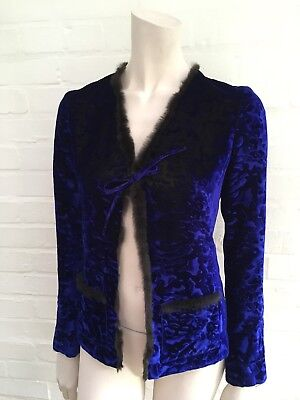 Christian Lacroix Bazar Women's Velvet with Fur Trim Jack F 36 UK 8 US 4 S SMALL ()