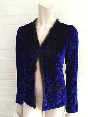 Christian Lacroix Bazar Women's Velvet with Fur Trim Jack F 36 UK 8 US 4 S SMALL ()