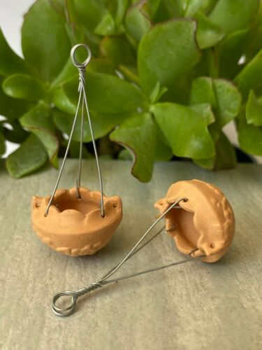 Miniature Dollhouse FAIRY GARDEN Accessories ~ Set of 2 Mini Hanging Pots ~ NEW