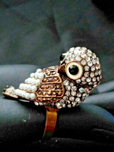 Antiqued Gold Tone Pave Rhinestone And Simulated Pearl 3-D Owl Ring
