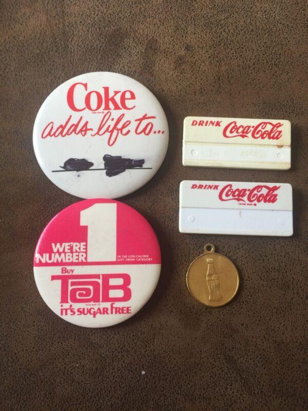 Vintage Coke Coca Cola Name Badge Tab Pins Coke 1968 Opening Coin Indianapolis