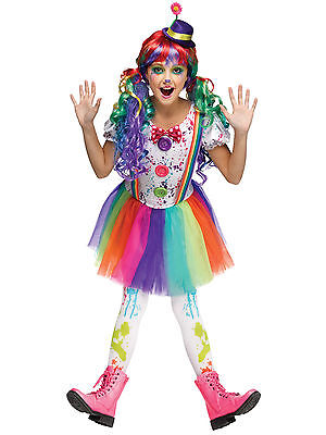 CRAZY COLOR CLOWN GIRLS HALLOWEEN COSTUME CHILD SIZE SMALL 4-6