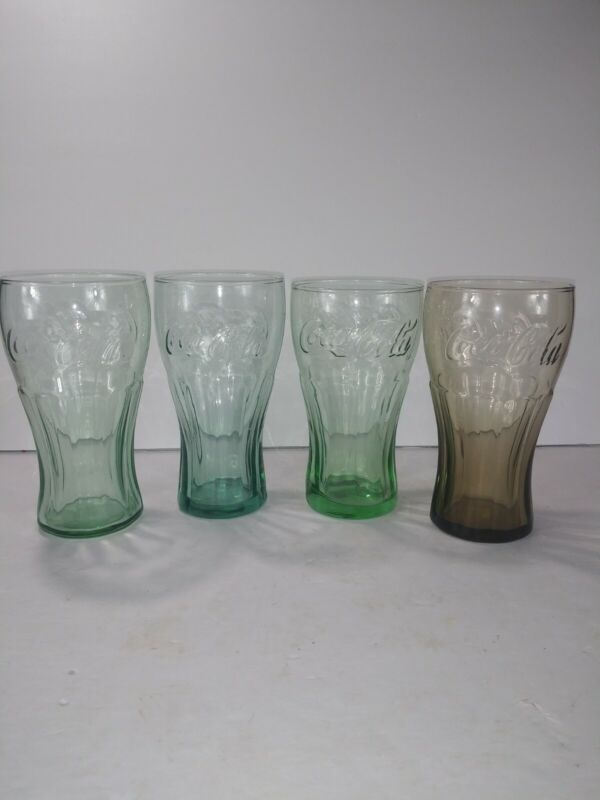 VINTAGE Collectable COCA COLA GLASSES COLORED set of 4
