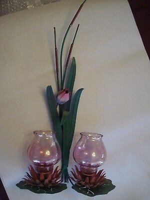 (Vintage Water Lillies w/ Cattails Candle Wall Hanging Candle Holder w/ Sconces)
