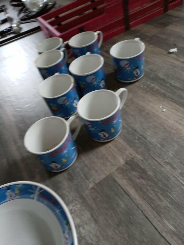 Coca Cola Laughing Snowman Stoneware Dishes 42 Piece Set