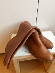 HONEY BROWN LEATHER BOOTS WOMENS size 7 RIDING STYLE HIGH