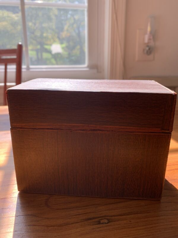 Wooden Recipe Box Vintage Hinged