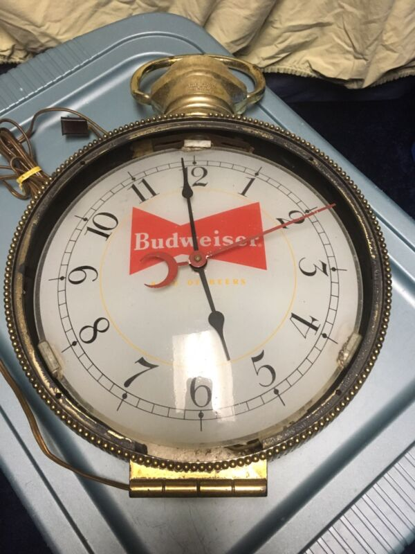 Vtg Budweiser Advertising Lighted Rotating Pocket Watch Clock Hanging Sign Works
