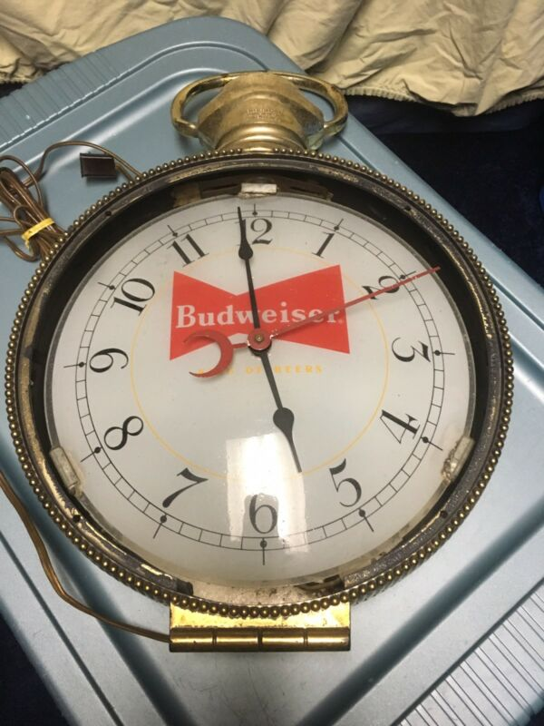 Vtg Budweiser Advertising Lighted Pocket Watch Clock Hanging Sign Works