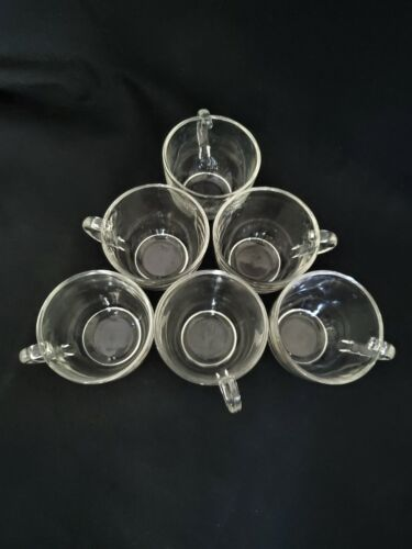 Vintage Federal Glass Plain Clear Glass Coffee Tea Punch Cup F Hallmark Set of 6
