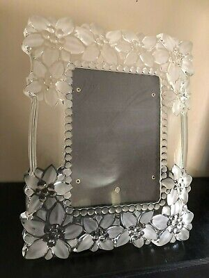 """FROSTED & CLEAR GLASS HEAVY PICTURE FRAME FOR 5"""" x 7"""""""