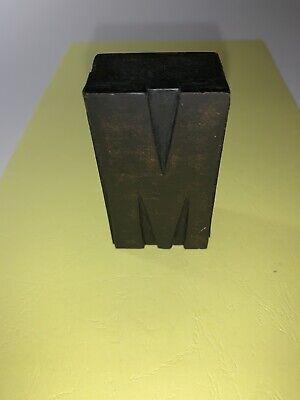 Vintage Wood Letterpress Large M Print Craft Steampunk Antique Press Art