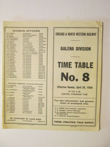 Chicago & North Western Time Table No. 8 Galena Division Apr. 26, 1959