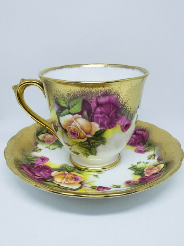 ROYAL CHELSEA GOLDEN ROSE English Bone China TEA CUP & SAUCER Heavy Gold Gilted