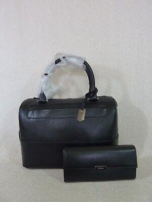FURLA Classic Onyx/Black Saffiano Leather Laila Satchel Bag + Wallet $628