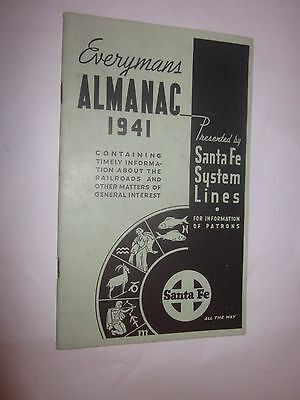 1941 Santa Fe System Lines Everymans Almanac Booklet For Information Of Patrons