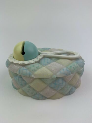 Hand Painted Unisex Baby Rattler Trinket Keepsake Box