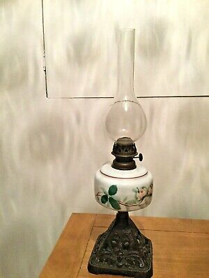 Antique Edwardian Oil Lamp Sherwood's Of Birmingham Cast Metal Base Complete