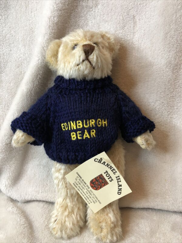 """Edinburgh Bear By Channel Island Toys UK Jointed Light Brown 10"""" Tall with Tags"""