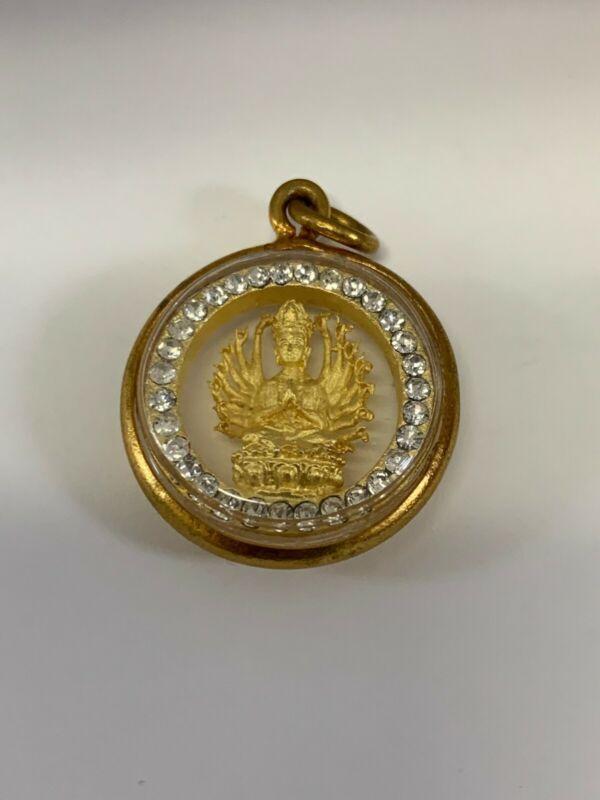 THAI AMULET PHRA THOUSAND HANDS, GOLD, DIAMONDS - BRAND NEW